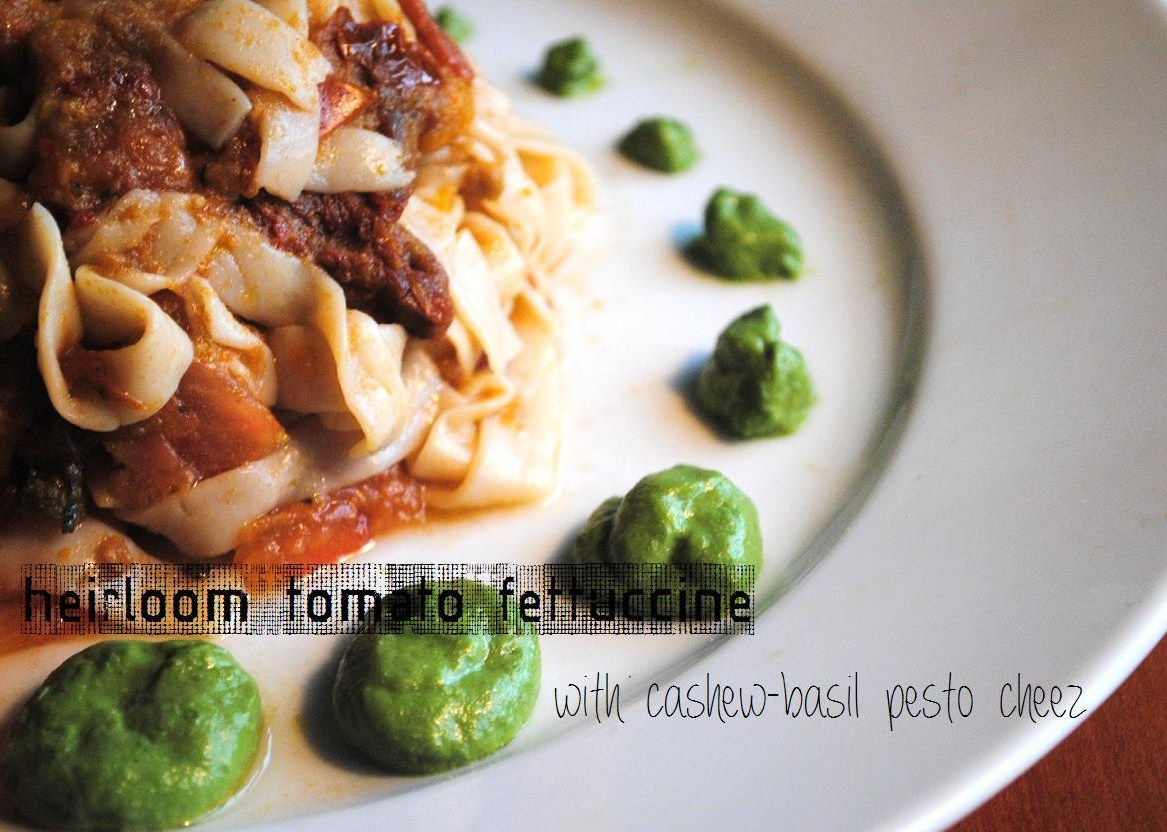 vegan heirloom tomato fettuccine
