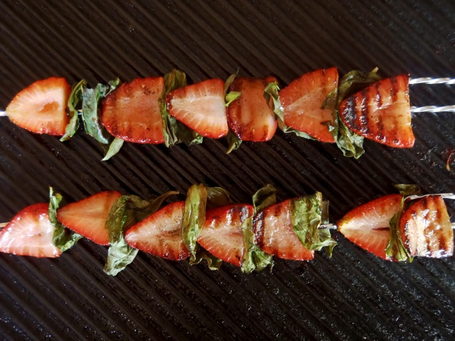 Grilled Strawberry Basil Kabobs