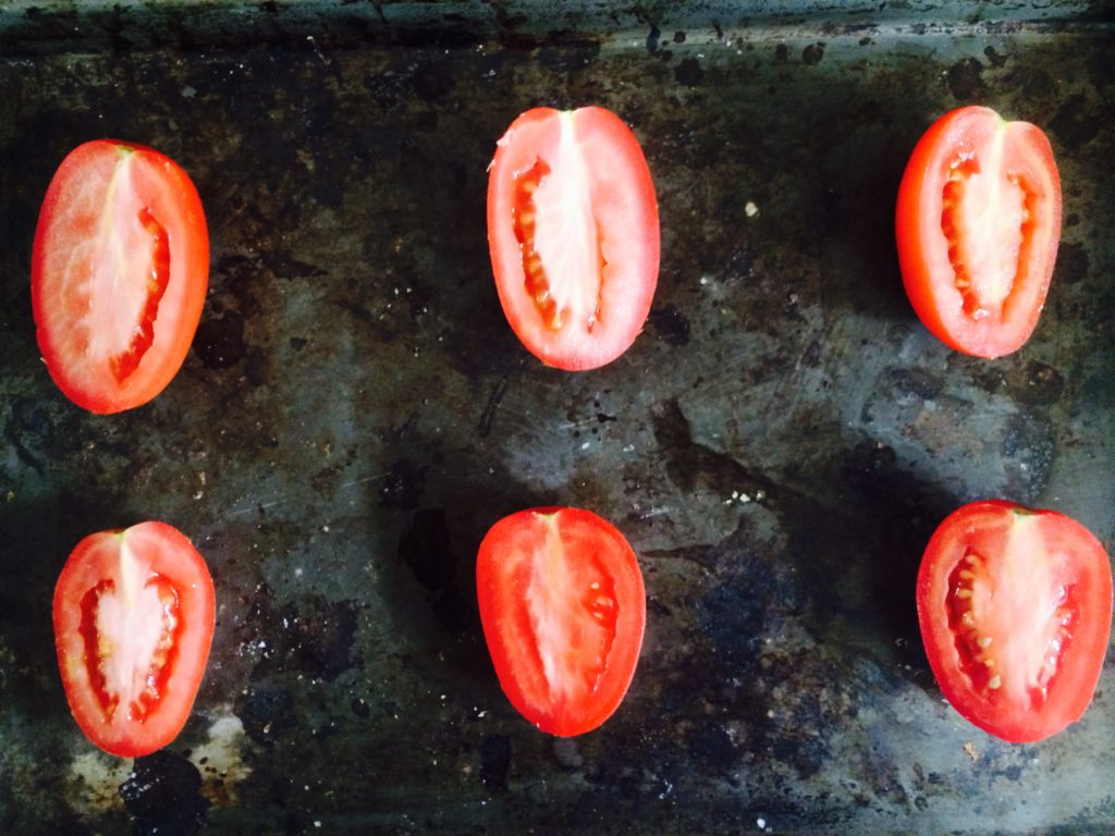 raw tomatoes halved