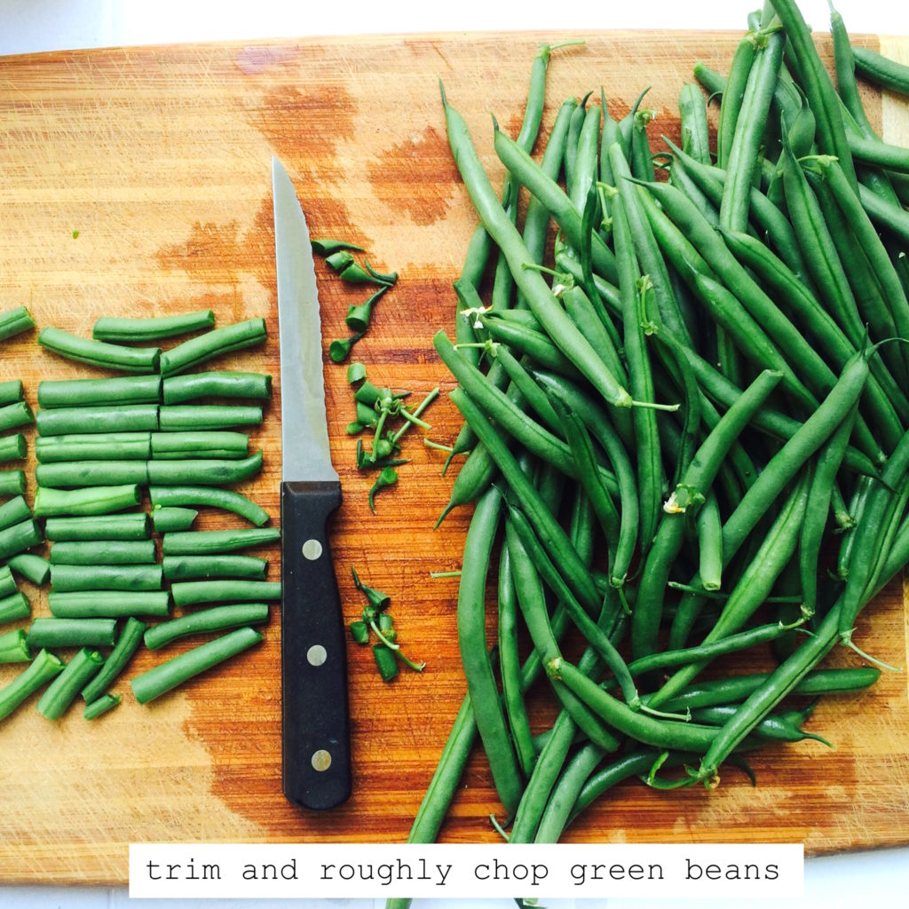trim and roughly chop green beans