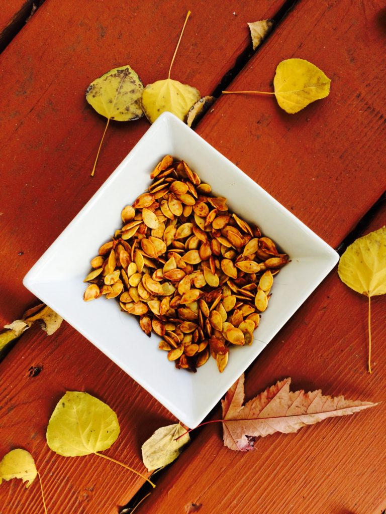 Acorn squash seeds roasted