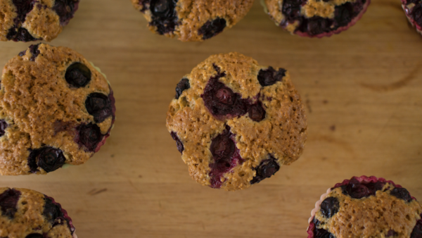 Flourless Banana Blueberry Muffins