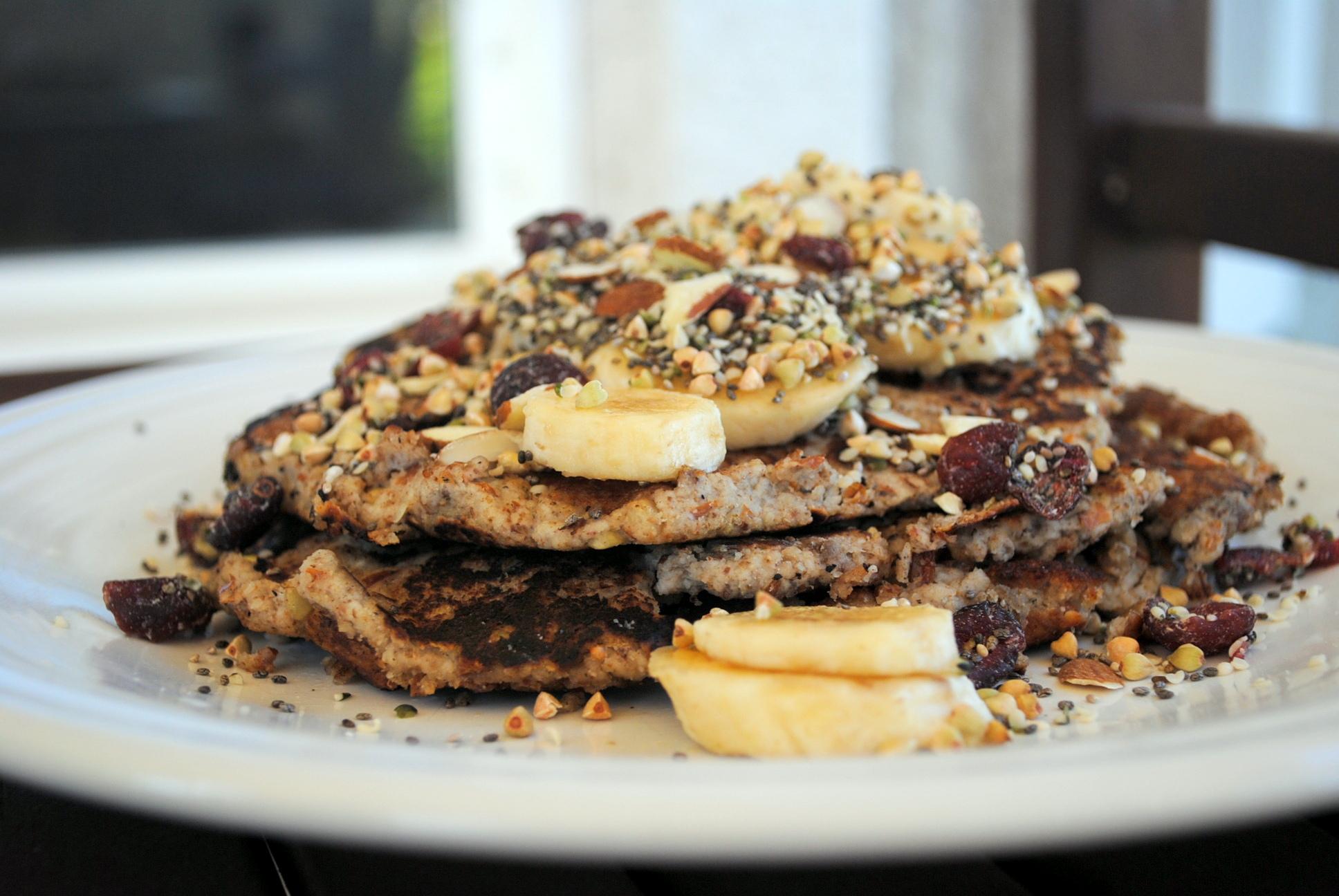 Chia Hemp Almond Banana Pancakes