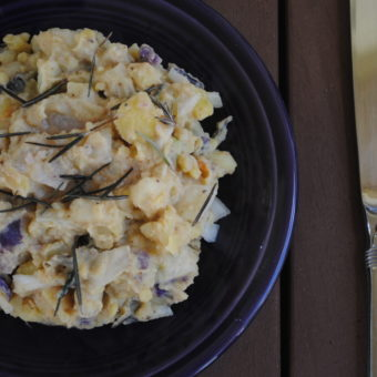 """Purple Potato Salad with Avocado """"Mayo"""" + Rosemary"""