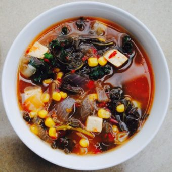 thai corn soup with kale