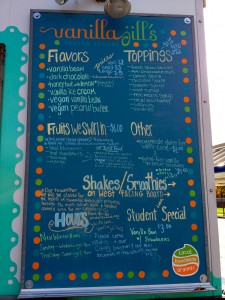 Menu at Vanilla Jill's (the food cart location outside Sundance Natural Foods store).