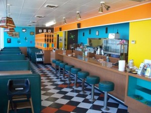 The cute, diner-like interior of the Cornbread Cafe