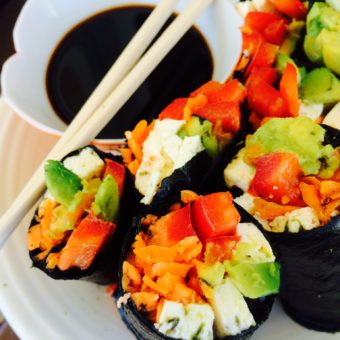 "Fish-Free Sushi Nori Rolls with Carrot ""Rice"""