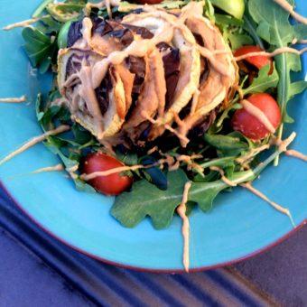 Eggplant & Squash Stacks + Pepita Crème