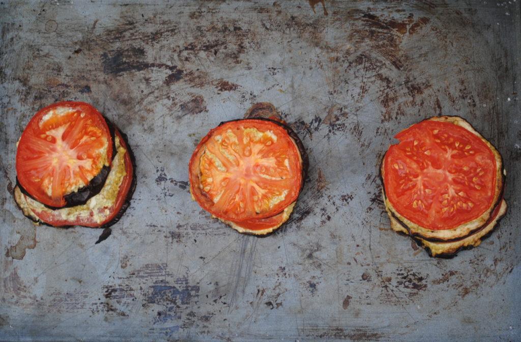 3 eggplant ricotta stacks