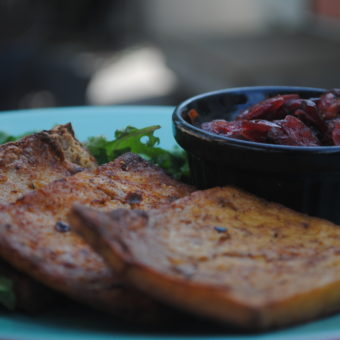 Jerk Tofu with Cranberry-Pepper Relish
