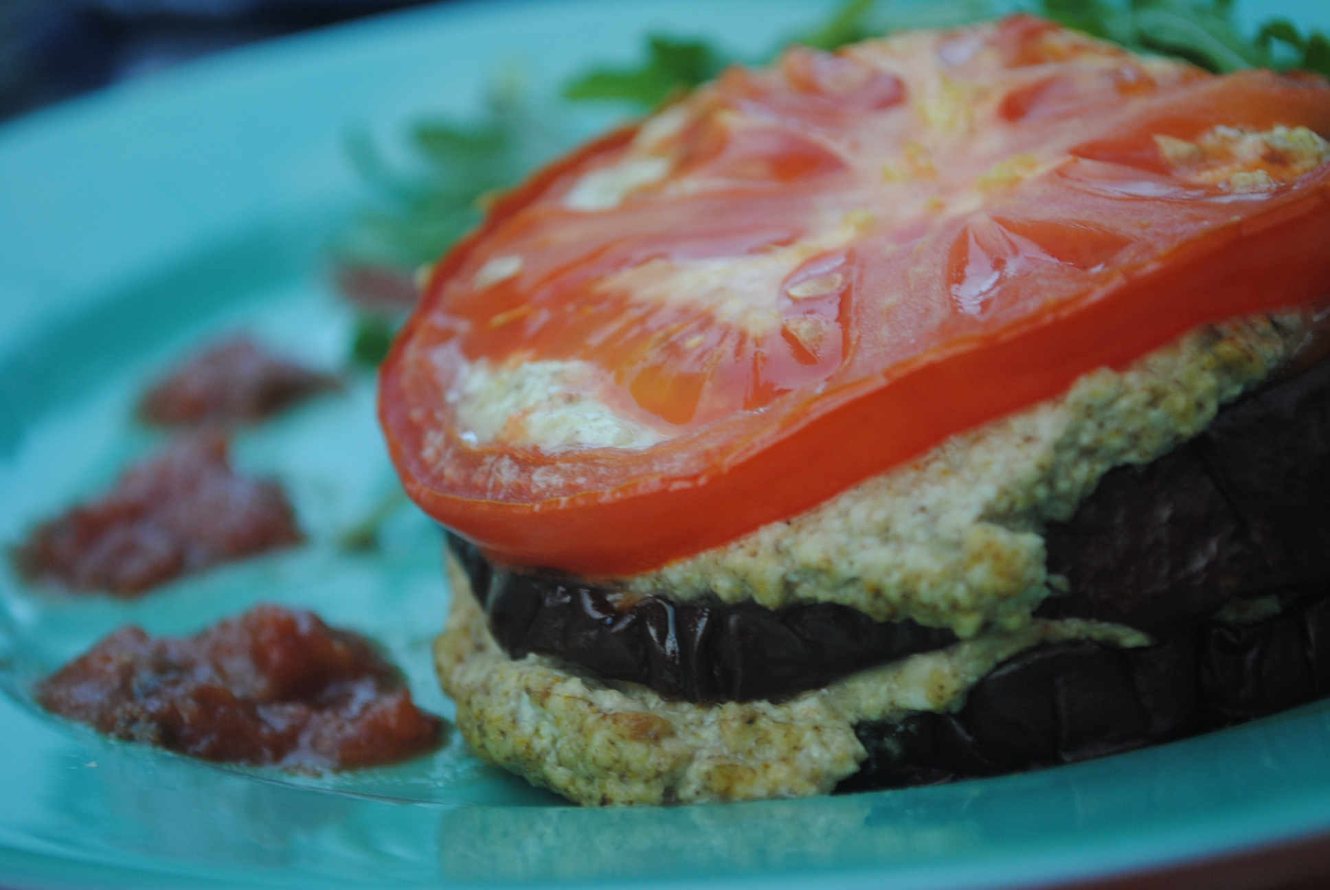 eggplant ricotta close up