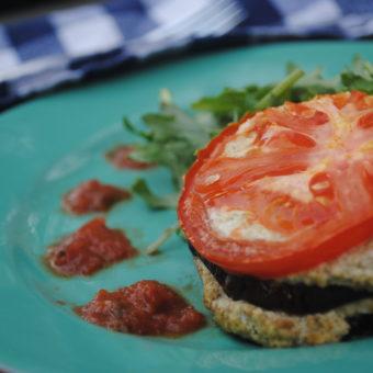 Eggplant-Tomato Stacks w/ Vegan Ricotta