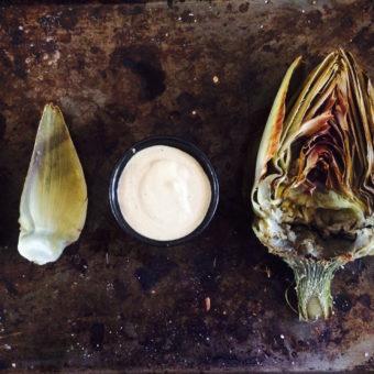 Grilled Artichokes + Vegan Wasabi Aioli