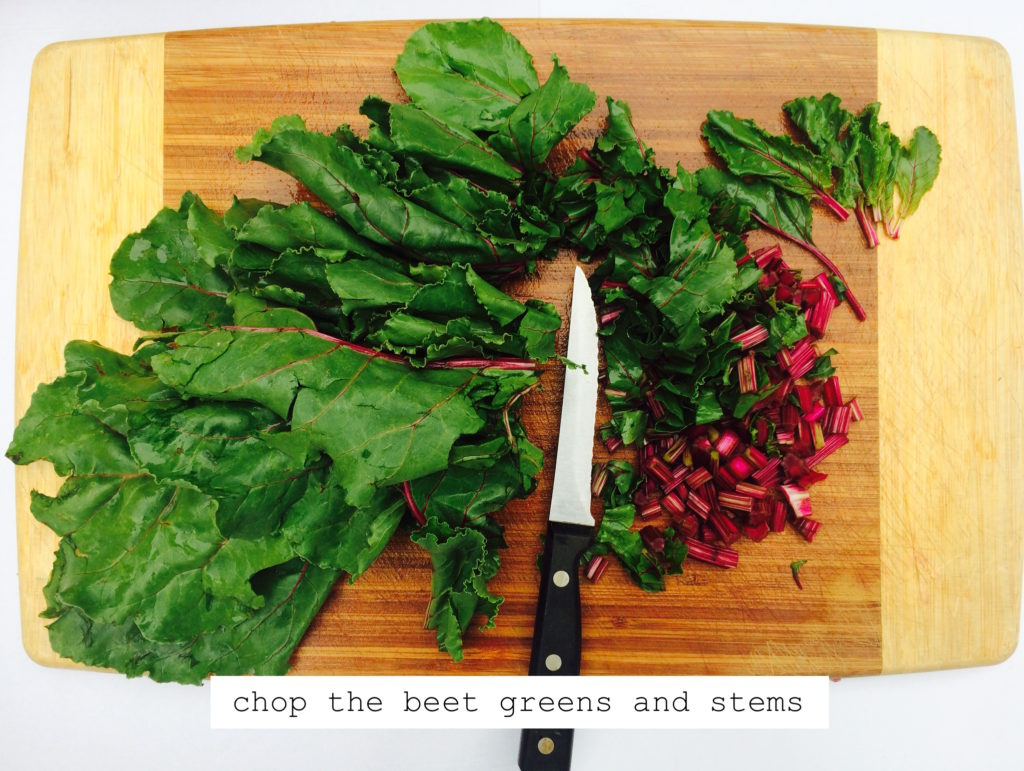 chopping beet greens