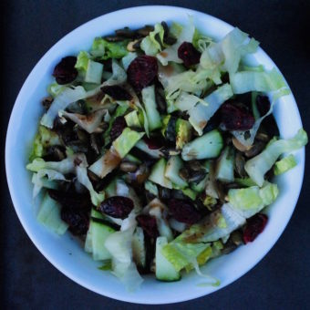 "Romaine <span class=""amp"">&</span> Cucumber Salad w/ Pepitas and Cranberries"