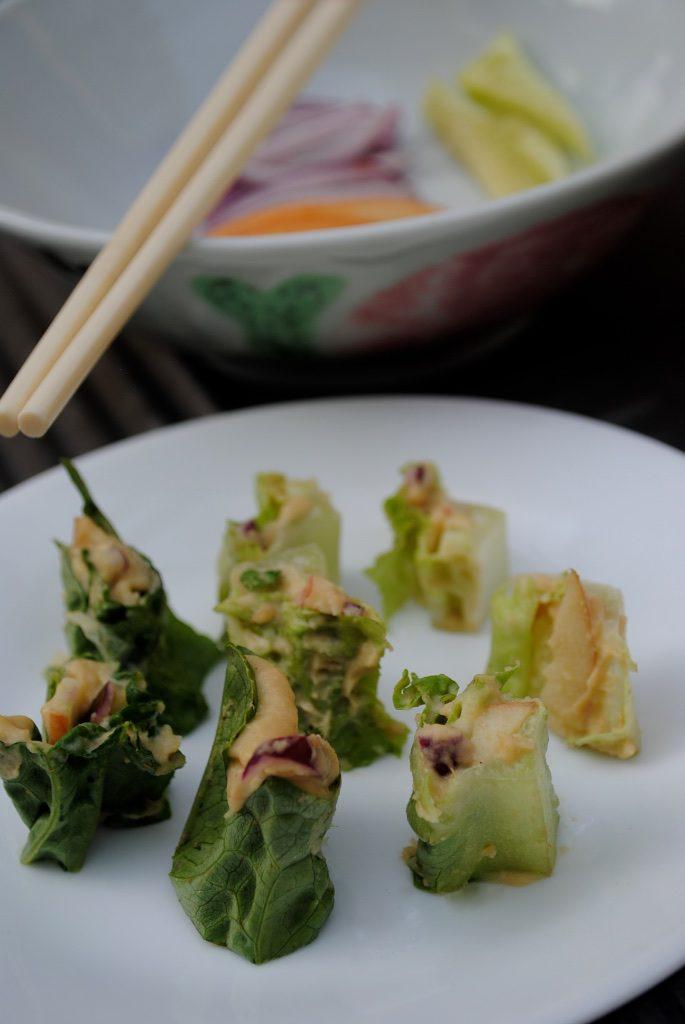hummus lettuce wraps