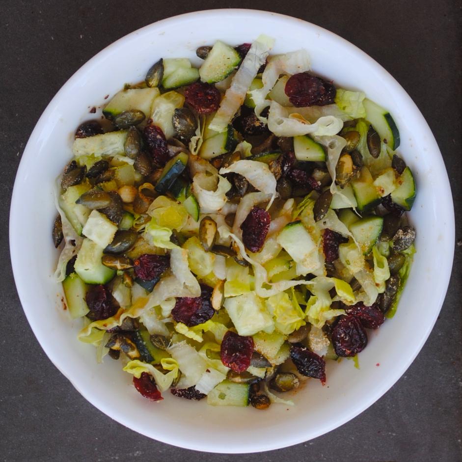 pumpkin seed romaine cucumber salad