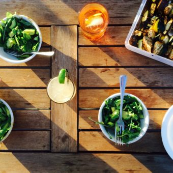 Miso-Ginger Skewers w/ Arugula-Avocado Salad