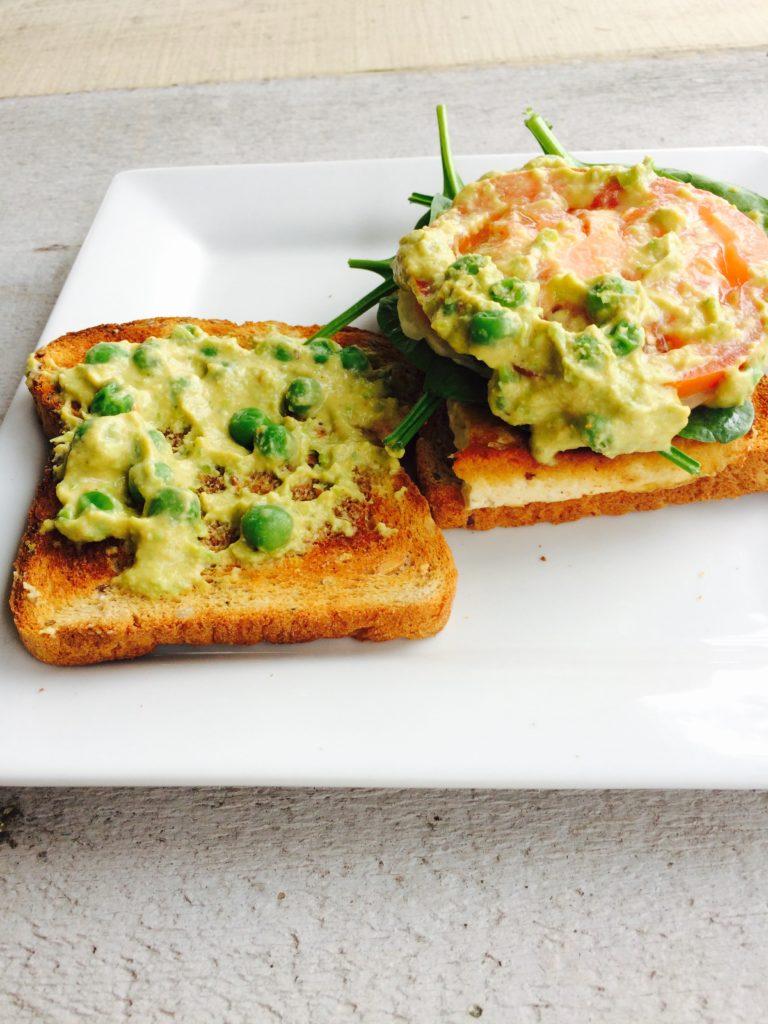 green pea hummus sandwich