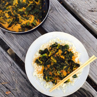 Thai Curry Collard Greens + Riced Cauliflower